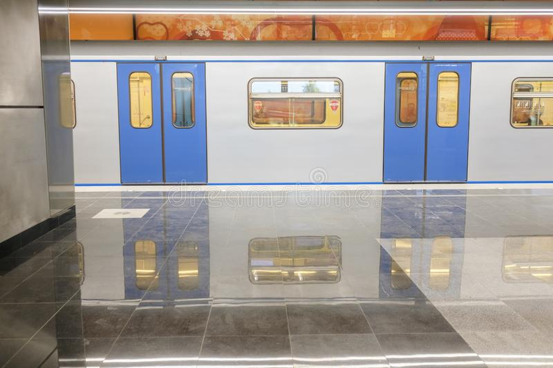 Subway train on the station Michurinskiy Prospect in Moscow royalty free stock photos