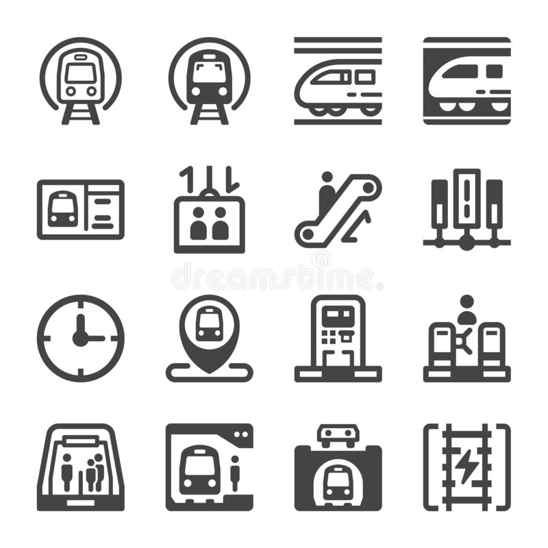 Subway train icon set royalty free illustration