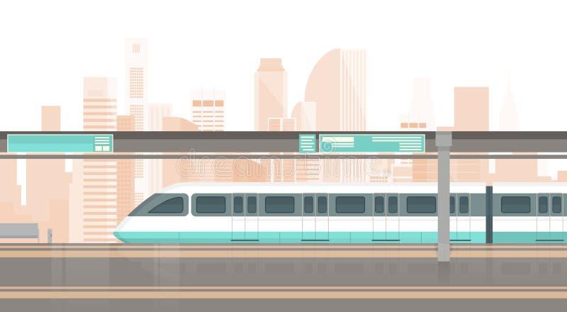 Subway Tram Modern City Public Transport, Underground Rail Road Station. Flat Vector Illustration royalty free illustration