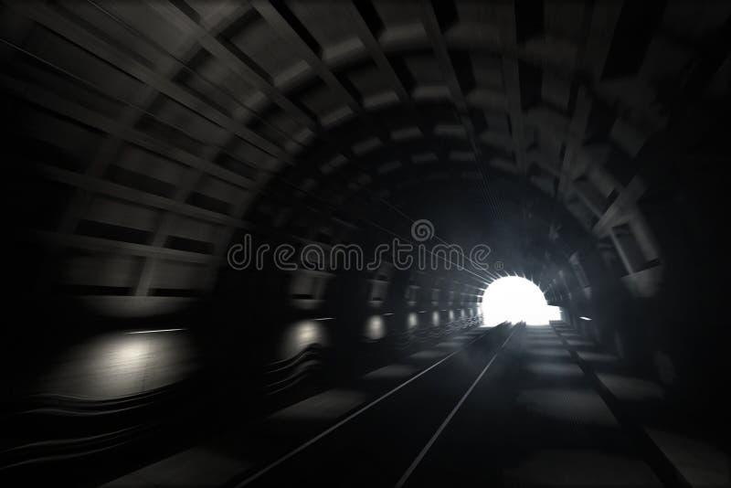 Download Subway tunnel stock illustration. Image of deep, monochrome - 14309293