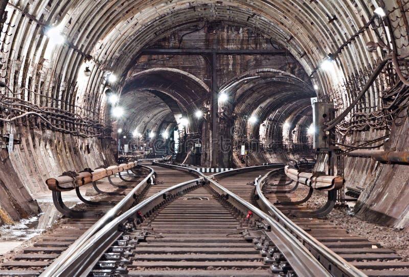 Subway tunnel. Kiev, Ukraine. Kyiv, Ukraine royalty free stock photo