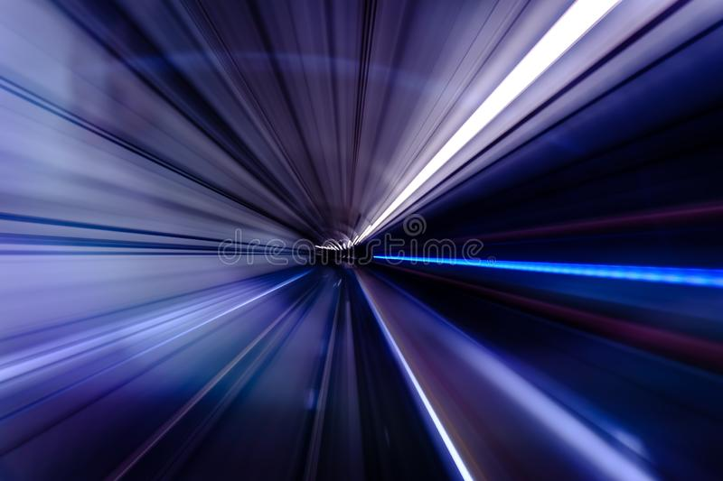 Subway tunnel motion speed rail background royalty free stock photo