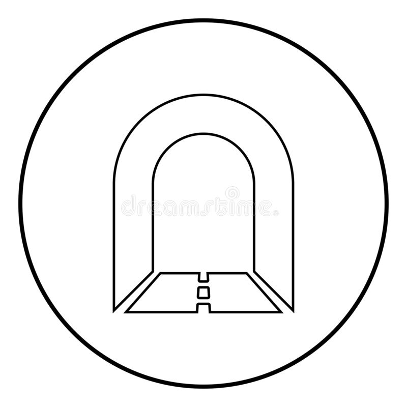 Subway tunnel with road for car icon black color illustration in circle round. Subway tunnel with road for car icon black color outline vector illustration flat vector illustration