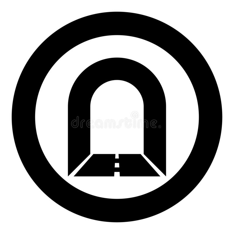 Subway tunnel with road for car icon black color illustration in circle round. Subway tunnel with road for car icon black color vector illustration flat style vector illustration