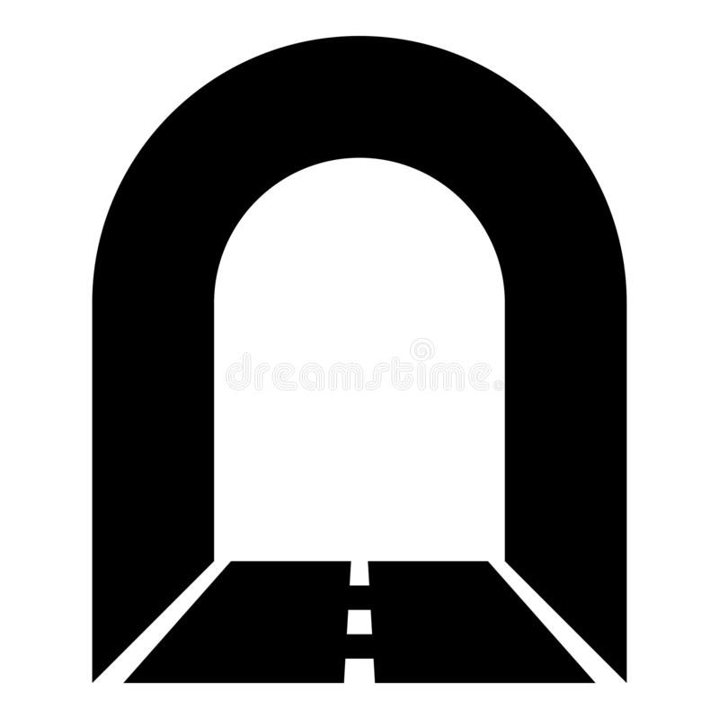 Subway tunnel with road for car icon black color illustration. Subway tunnel with road for car icon black color vector illustration flat style simple image royalty free illustration