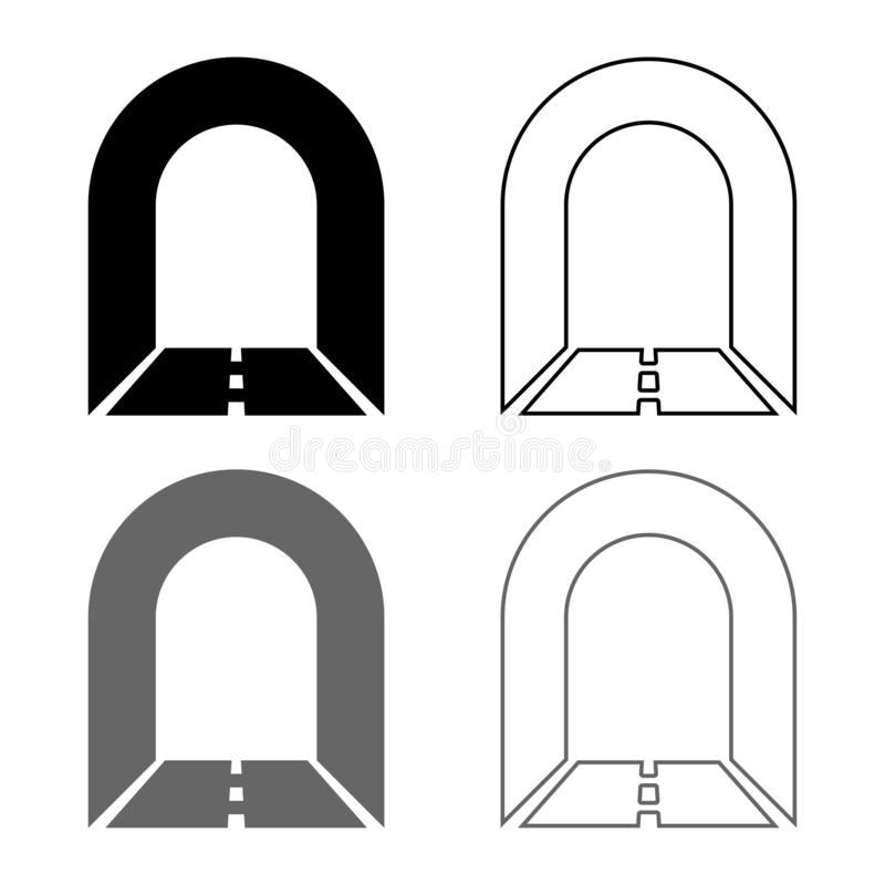 Subway tunnel with road for car icon set grey black color illustration outline flat style simple image. Subway tunnel with road for car icon set grey black color stock illustration