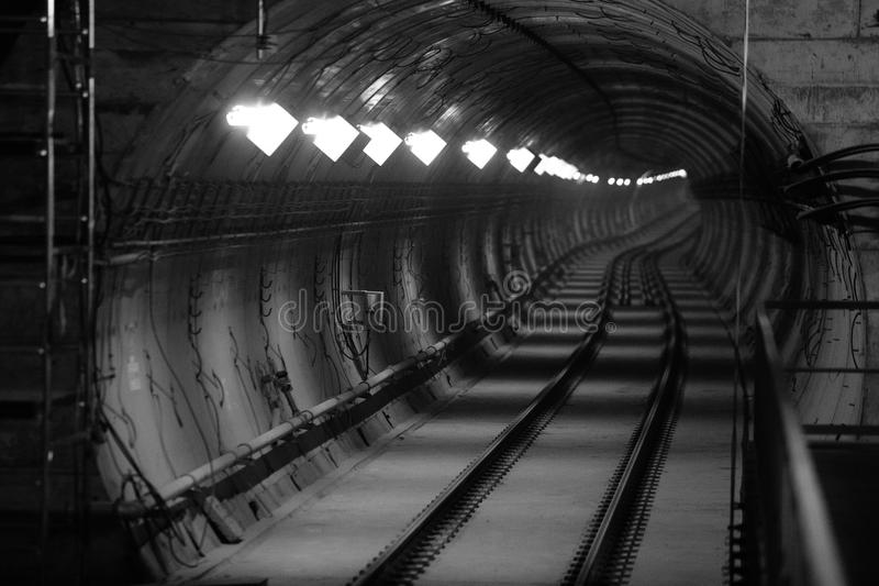 Subway tunnel under construction stock photos
