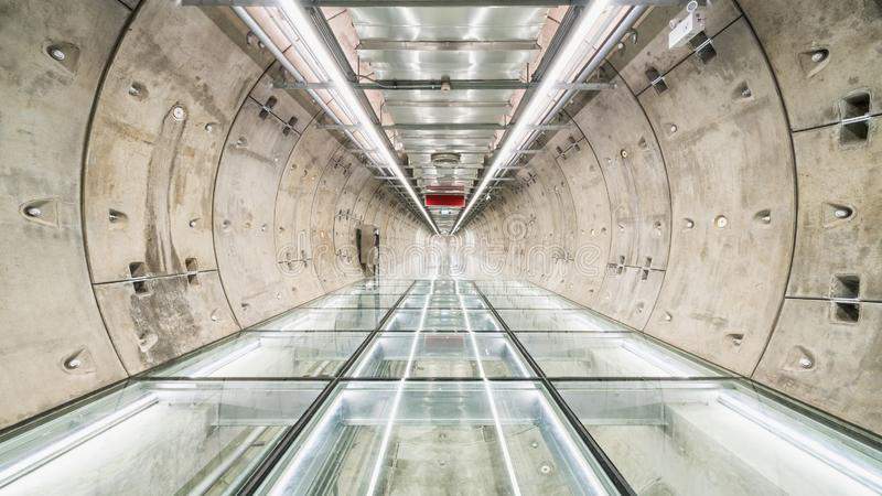 Subway tunnel walkway with no people. Public transportation, construction industry, civil engineering, city life, or futuristic in. Terior design concept stock photos