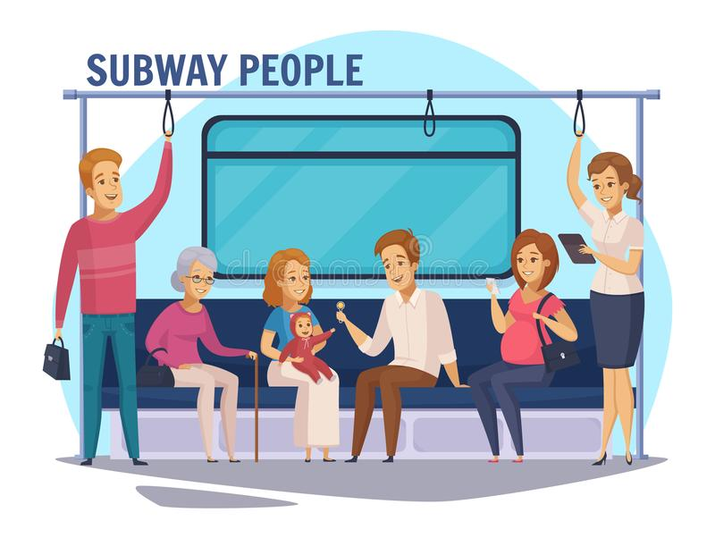 Subway Underground People Cartoon Composition royalty free illustration