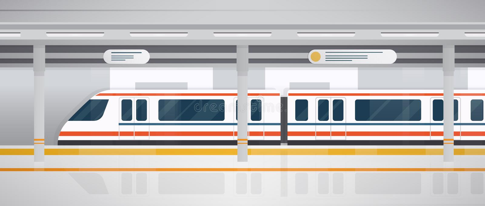 Subway, underground platform with modern train. Horizontal colorful vector illustration in flat style. Subway, underground platform with modern train royalty free illustration
