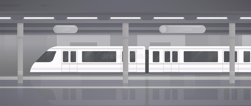 Subway, underground platform with modern train. Horizontal monochrome vector illustration in flat style. stock illustration