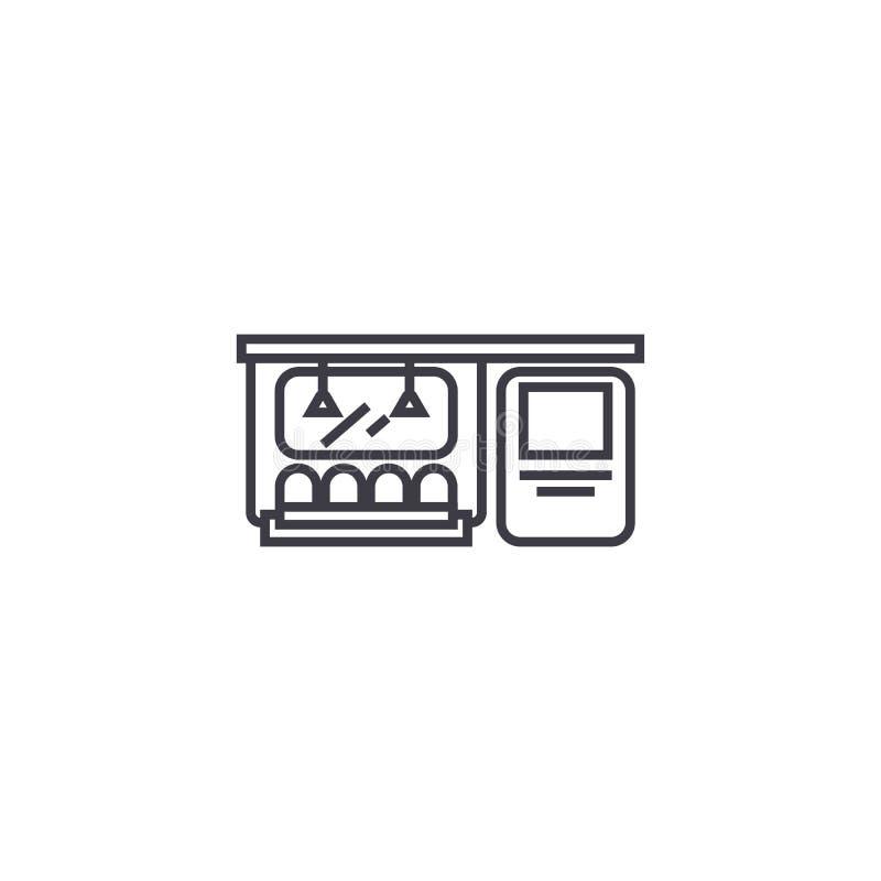 Subway vector line icon, sign, illustration on background, editable strokes stock illustration