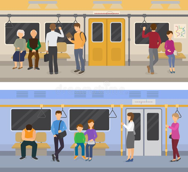 Subway vector people in metro and passengers in underground using urban public transport illustration set of characters vector illustration