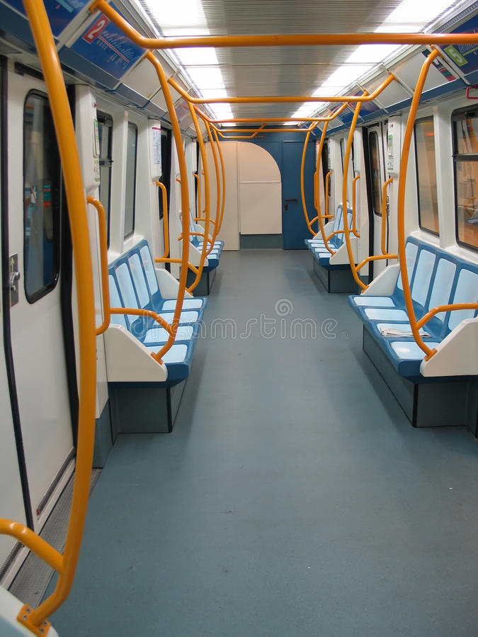 Subway wagon. Empty subway wagon metro Madrid stock image