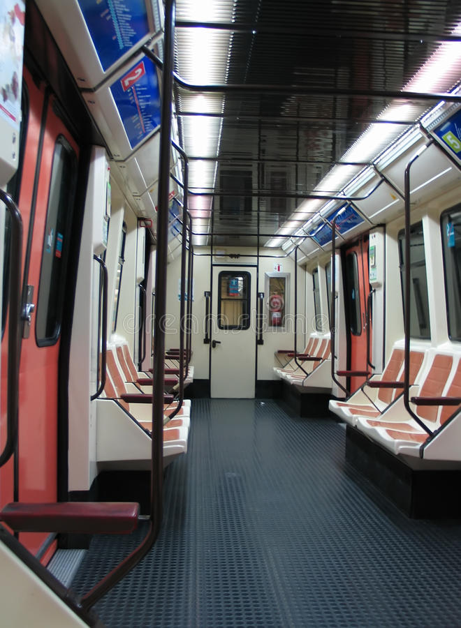 Subway wagon. Empty subway wagon metro Madrid stock photo