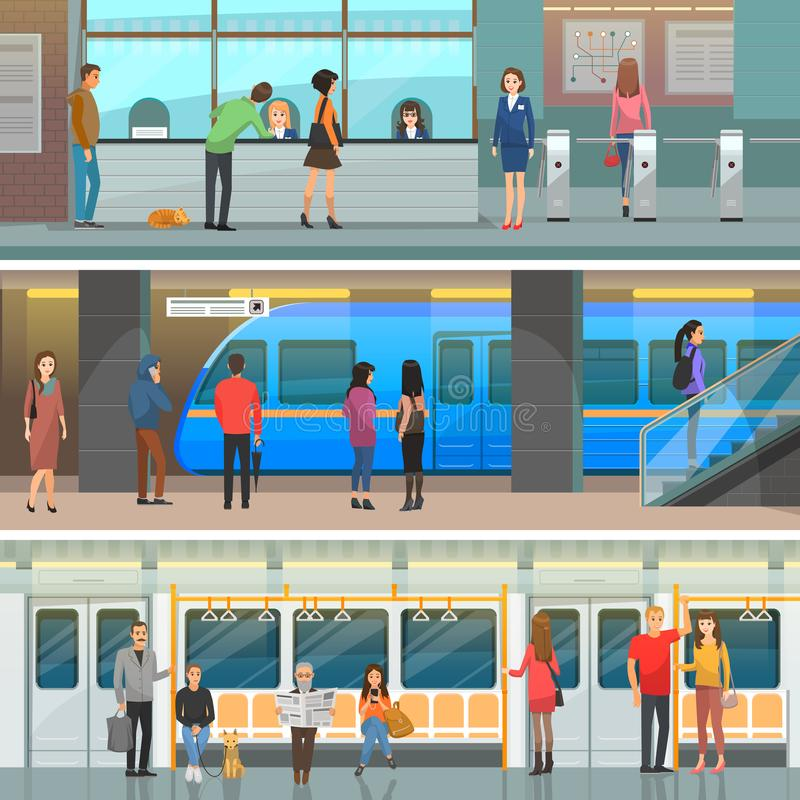 Subway Wagon, Modern Station and Entrance Set. Automatic turnstiles, fast electric train, comfortable seats with passengers vector illustrations vector illustration