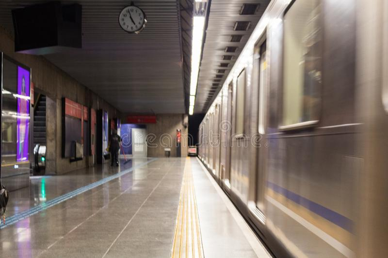 Subway Wagon passing by the platform at Republica Metro Station in Sao Paulo Downtown. Sao Paulo, Brazil, July 27, 2019 - Subway Wagon passing by the platform at stock images