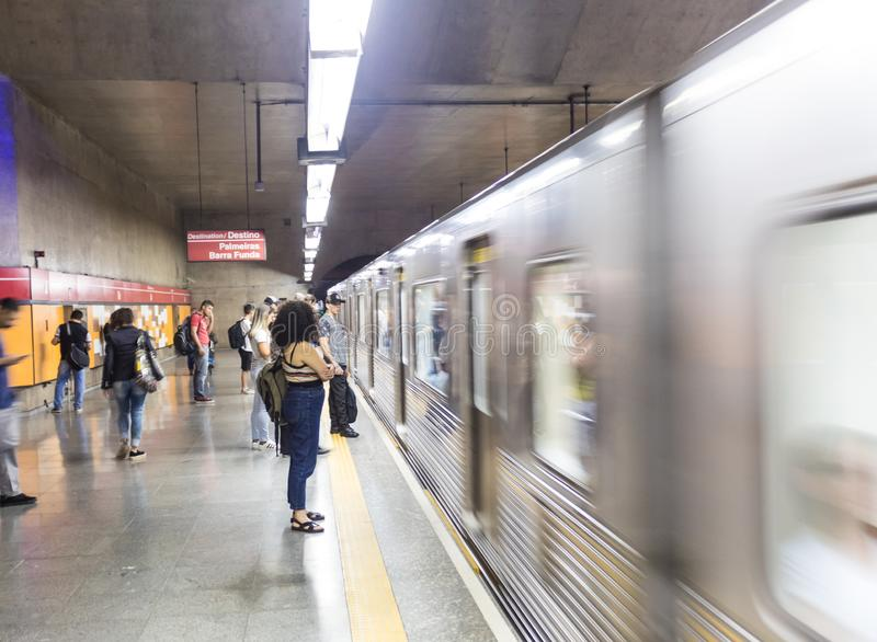 Subway Wagon passing by the platform at Se Metro Station in Sao Paulo Downtown royalty free stock photo