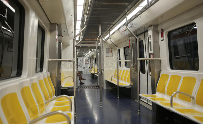 Subway wagon train. Main and only Palma subway line connects university with downtown comercial área in the city of palma de Mallorca and lacking passengers stock photo