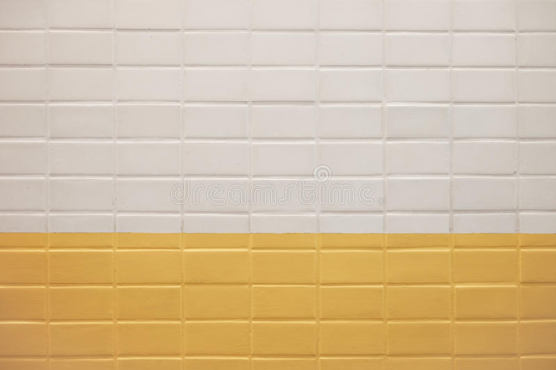 Subway Wall Background With White And Yellow Tiles Texture