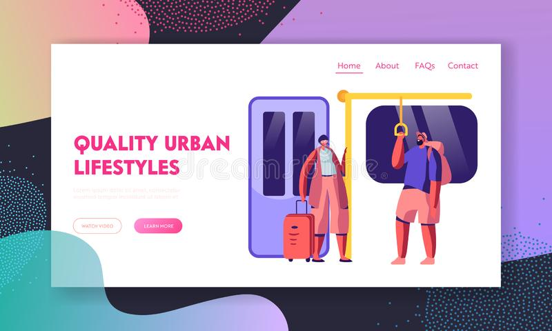 Subway Website Landing Page. People in Metro, Passengers in Underground Using Urban Public Transport, Characters Inside Underpass stock illustration