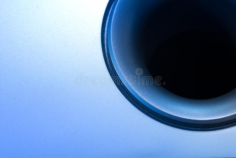 Subwoofer Detail. Part of a Subwoofer Loud Speaker with typical pipe and funnel shaped output stock images