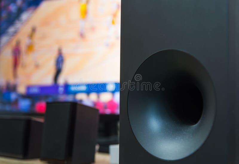 Subwoofer et écran plat TV de home cinéma images libres de droits