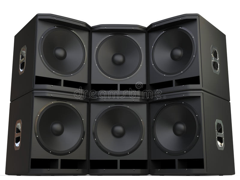 Subwoofer speakers wall stacked royalty free illustration