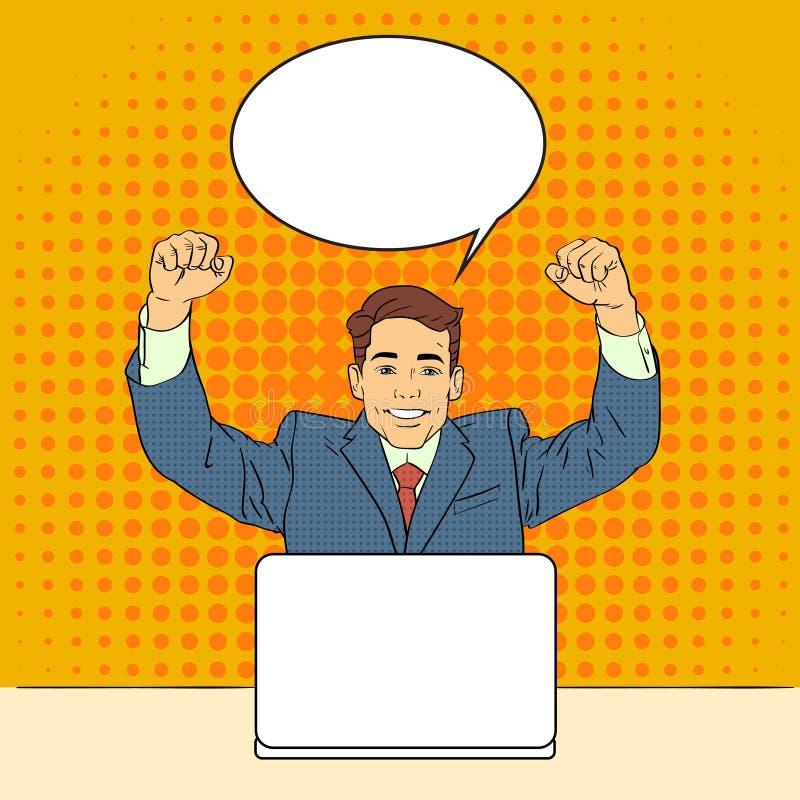 Succès d'homme d'affaires célébrant la main vers le haut de la rétro bulle de causerie de style de Sit Laptop Computer Pop Art illustration de vecteur