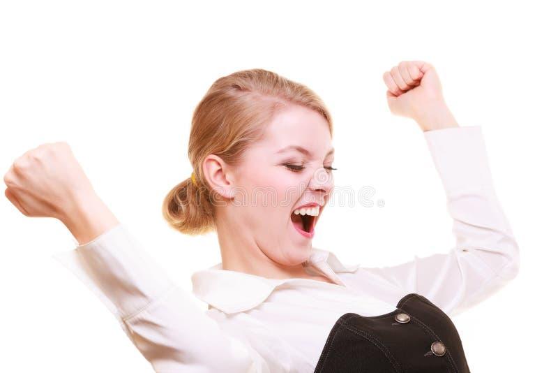 Download Succès Dans Le Travail Femme D'affaires Célébrant La Promotion Photo stock - Image du cris, femelle: 45361630