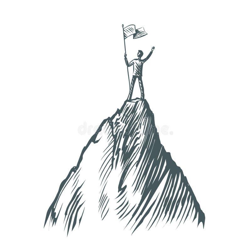 Succès dans les affaires, concept Position d'homme d'affaires avec un drapeau sur une montagne Illustration de vecteur de croquis illustration de vecteur