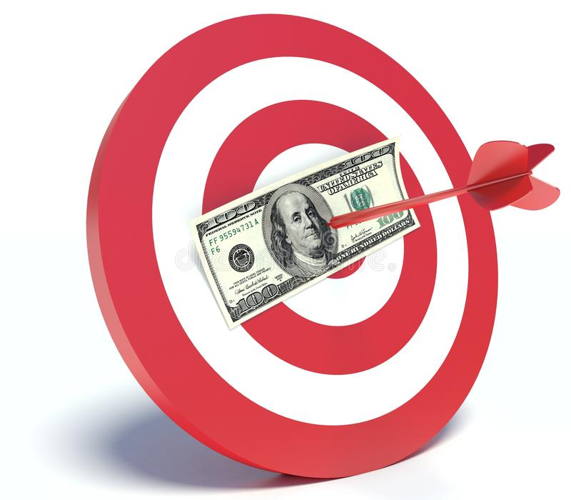Succès dans les affaires, le dollar et le dard illustration libre de droits