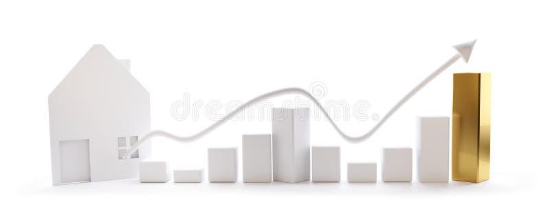 Succès de maison de graphique de gestion sur le fond blanc 3d-illustration illustration libre de droits