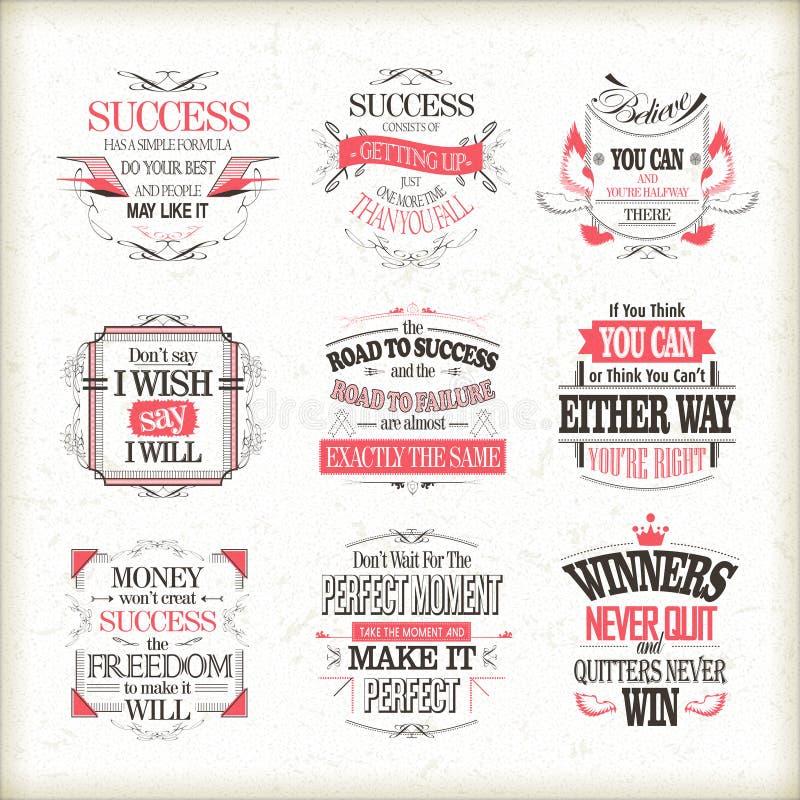 Succès de motivation et citations inspirées réglées illustration stock