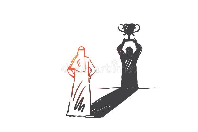 Succès, direction, croquis de concept de confiance en soi Illustration d'isolement tir?e par la main de vecteur illustration stock