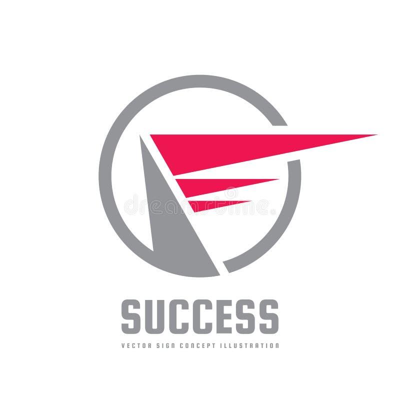 Succès - illustration de concept de calibre de logo d'affaires de vecteur Éléments abstraits de dessin géométrique Aile rouge dan illustration libre de droits