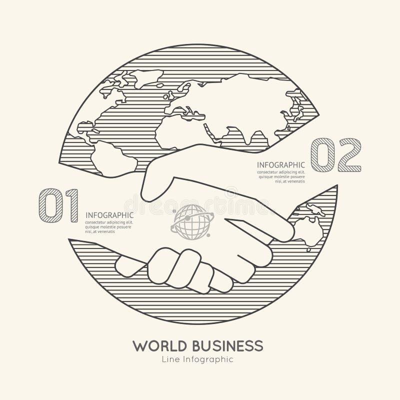 Succès linéaire plat d'ensemble de poignée de main d'affaires du monde d'Infographic illustration libre de droits