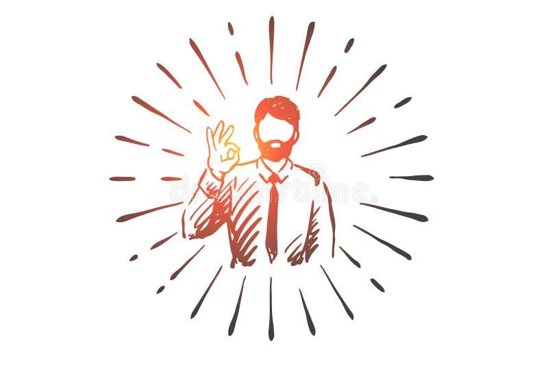 Succès, ok, homme d'affaires, geste, concept de symbole Vecteur d'isolement tiré par la main illustration stock