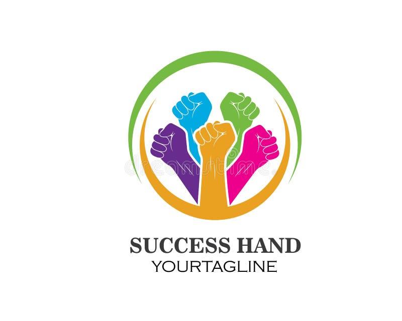 succès, vecteur de logo d'icône de main d'unité illustration de vecteur