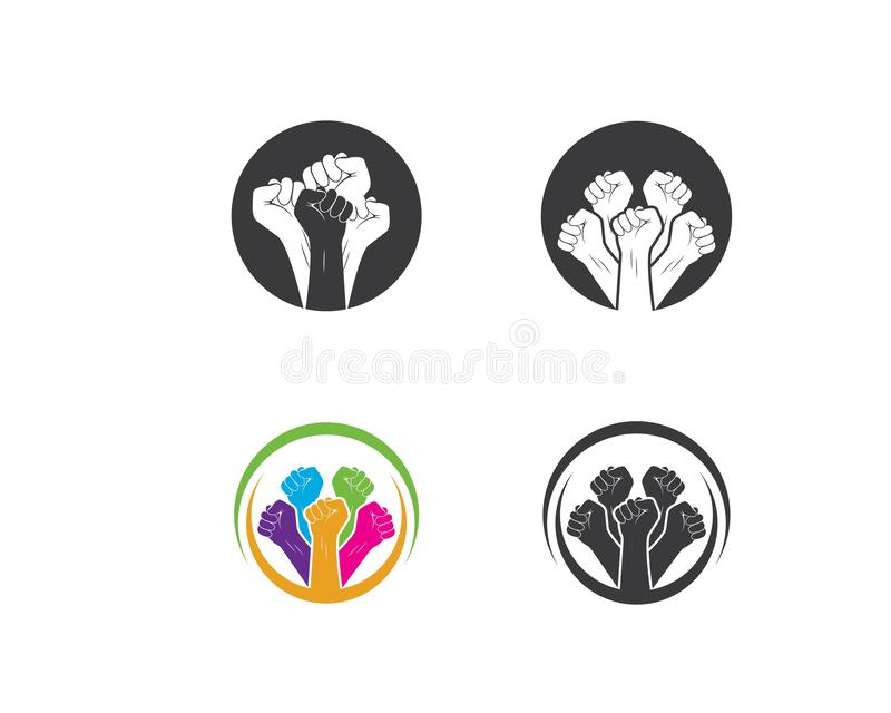 succès, vecteur de logo d'icône de main d'unité illustration stock
