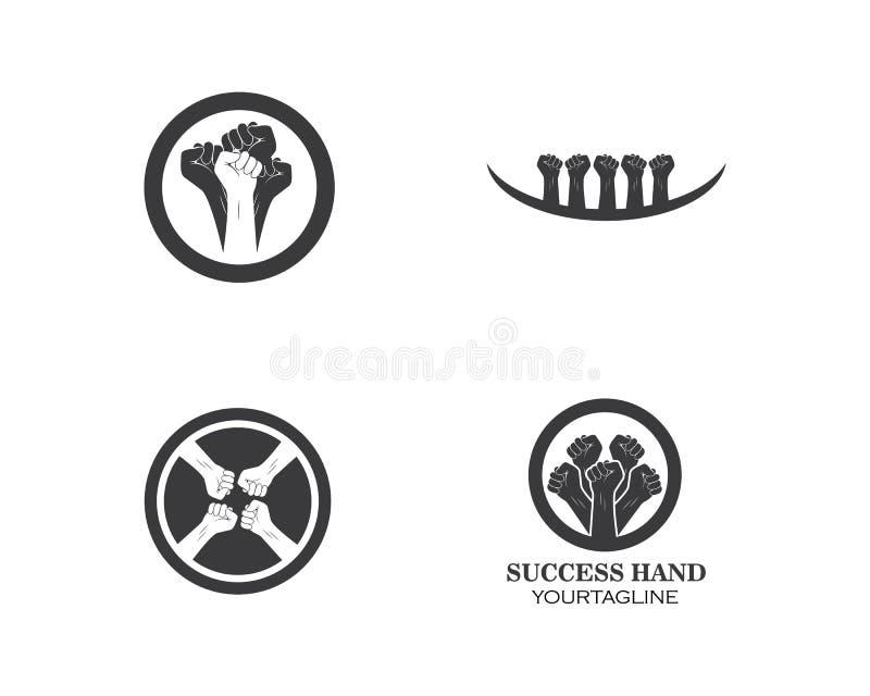 succès, vecteur de logo d'icône de main d'unité illustration libre de droits