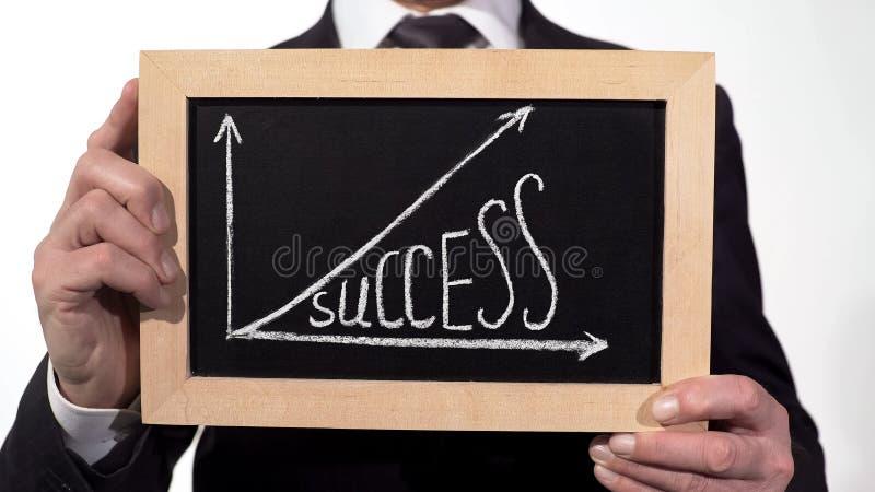 Succès vers le haut du graphique de flèche tracé sur le tableau noir dans des mains d'homme d'affaires, motivation photo stock