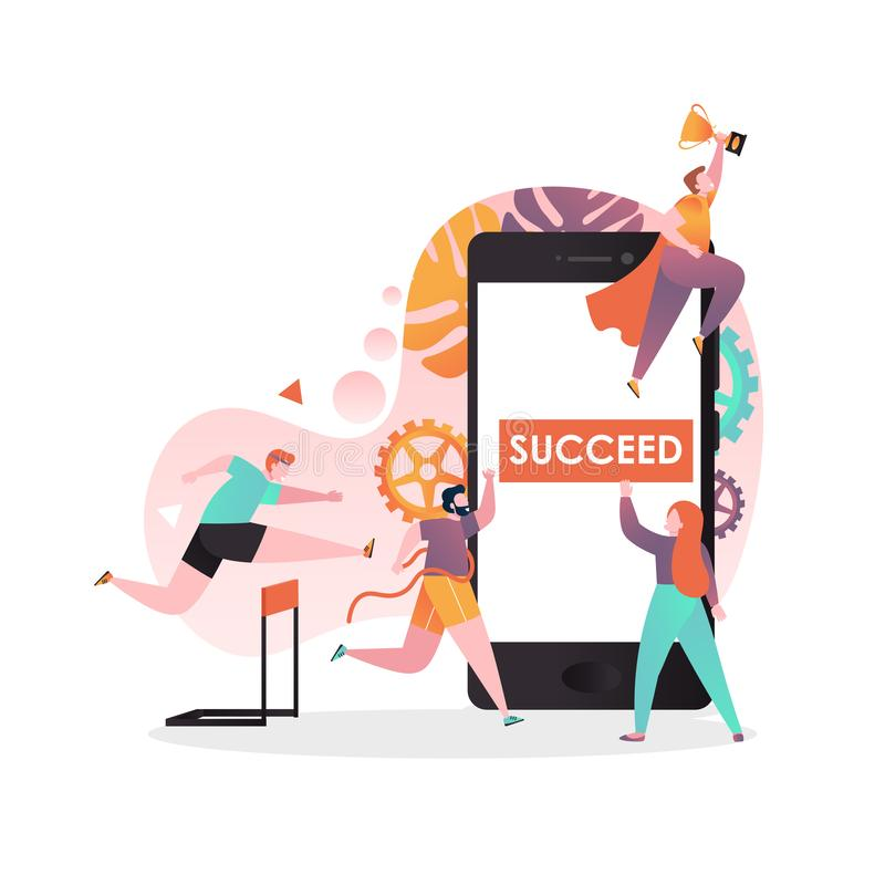 Succeed vector concept for web banner, website page stock illustration