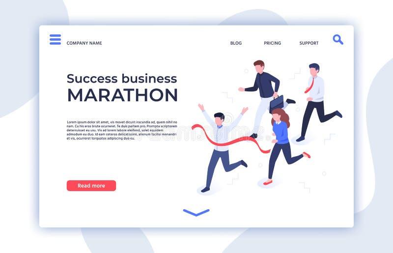 Succes bedrijfsmarathon Succesvol opstarten, zakenmanwinnaar en de professionele isometrische vector van het triomflandingspagina royalty-vrije illustratie