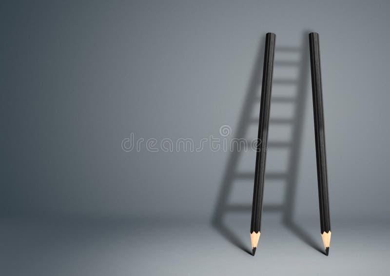 Succes creatief concept, potloodladder met exemplaarruimte stock foto