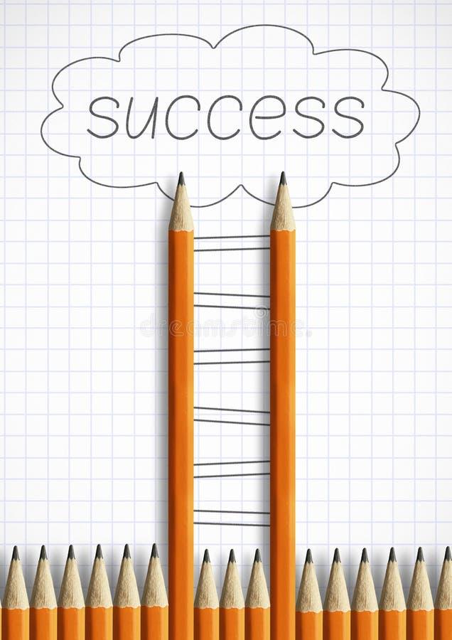 Succes creatief concept, potloodladder met geschilderde stappen stock illustratie