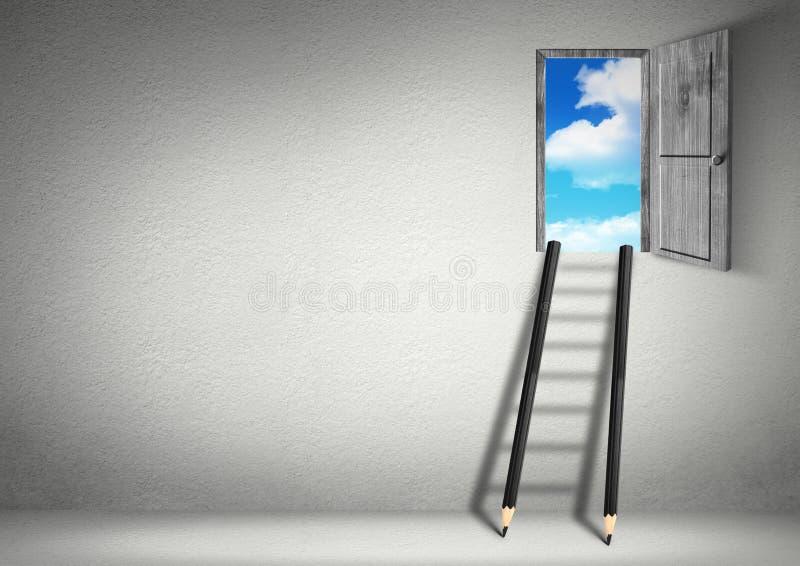 Succes creatief concept, treden van potloden aan hemel stock afbeeldingen