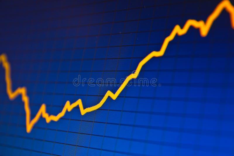 SUCCES. Effectenbeursgrafieken op het scherm royalty-vrije stock afbeelding