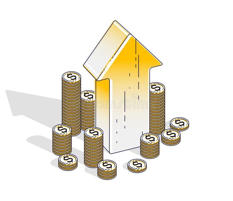 Succes en winstverhogingsconcept, omhoog Pijl met contant geldgeld st stock illustratie