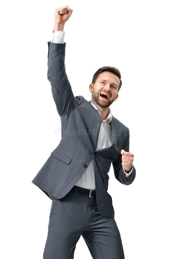 Succes entusiasmado da celebração do homem de negócios foto de stock royalty free